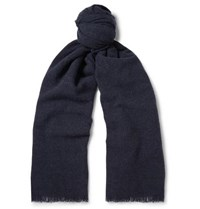 Begg And Co Beaufort Wool Cashmere Blend Scarf Midnight Blue