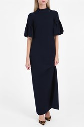 Merchant Archive Frill Sleeve Dress Navy