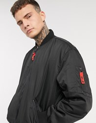 Bershka Bomber Jacket With Back Print And Red Tabs In Black