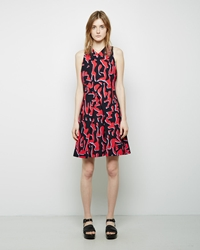 Proenza Schouler Printed A Line Dress Red Grey