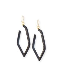 Ashley Pittman Awali Studded Dark Horn Hoop Earrings Brown