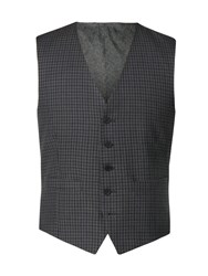 Limehaus Men's Ethan Charcoal Gingham Waistcoat Charcoal
