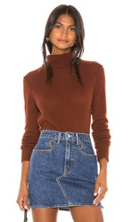 525 America Cashmere Turtleneck Sweater In Red. Red Clay