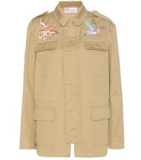 Red Valentino Embroidered Cotton Twill Jacket Beige