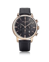 Locman Watches 1960 Rose Gold Pvd Stainlees Steel Chronograph Watch W Black Strap