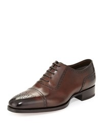 Tom Ford Austin Cap Toe Oxford Shoe Brown