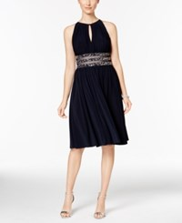R And M Richards Embellished Gathered Keyhole Dress Navy