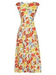 Emilia Wickstead June Floral Print Cut Out Dress White Multi