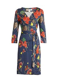 Diane Von Furstenberg V Neck Silk Jersey Wrap Dress Navy Print