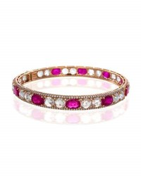Facets Inc Signed Pieces Rose Cut Ruby And Diamond Bangle