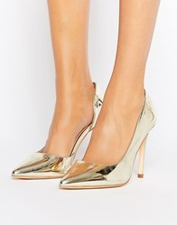 London Rebel Open Waisted Court Shoe Champagne Pu Gold