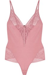 Cosabella Lace Trimmed Stretch Jersey Bodysuit Pink