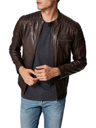 Selected Homme Leather Jacket Brown