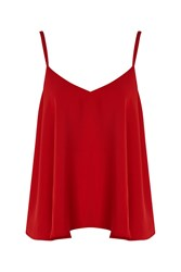 Topshop Petite Rouleau Swing Camisole Top Red