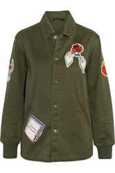 Opening Ceremony Gestures Coach Appliqued Cotton Canvas Jacket Army Green
