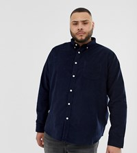 D Struct Plus Fine Needle Cord Shirt Navy