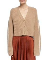 Elizabeth And James Cabot Button Front Bell Sleeve Cashmere Cardigan Medium Brown