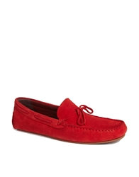 Asos Loafers In Suede Red