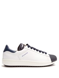 Moncler Angeline Low Top Leather Trainers Navy White
