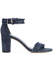 Stuart Weitzman Frayed Sandals Blue