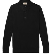 John Smedley Lanlay Slim Fit Sea Island Cotton And Cashmere Blend Polo Shirt Black