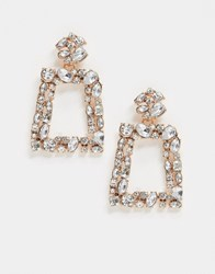 Accessorize Door Knocker Earrings With Clear Gems In Rose Gold