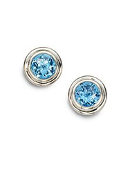 John Hardy Bedeg Swiss Blue Topaz And Sterling Silver Stud Earrings