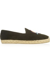 Penelope Chilvers Embroidered Ribbed Velvet Espadrilles