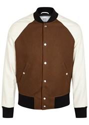Ami Alexandre Mattiussi Brown Wool And Leather Bomber Jacket Off White