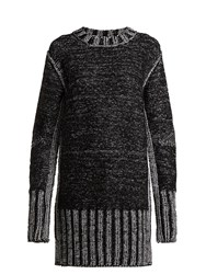 Maison Martin Margiela Metallic Heavy Knit Sweater Dress Black Silver