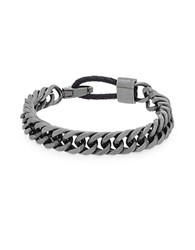 Steve Madden Stainless Steel And Leather Curb Chain Bracelet Burnished Silver
