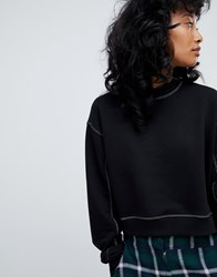 Pull And Bear Pullandbear Contrast Stitch Sweat Top In Black