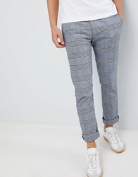 Original Penguin P55 Slim Fit Large Check Trousers In Navy Red Dark Sapphire