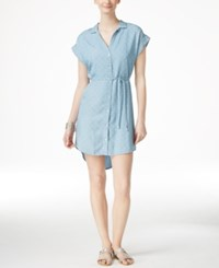 Grace Elements Cap Sleeve Tencel Shirt Dress Polka Dot Denim Wash