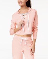 Material Girl Active Juniors' Cropped Lace Up Hoodie Created For Macy's Pure Pink