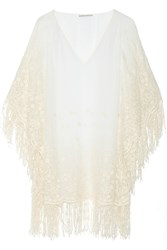Alice Olivia Haveri Embroidered Silk Chiffon Poncho White
