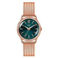 Henry London Ladies 34Mm Stratford Stainless Steel Bracelet Watch With Stone Set Bezel Green Rose Gold