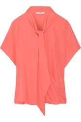 Etro Pussy Bow Silk Crepe De Chine Blouse Coral