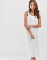 Mango Square Neck Midi Dress In White