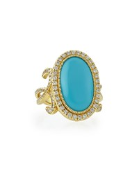 Jude Frances Oval Turquoise Florentine Ring With Diamonds Judefrances Jewelry