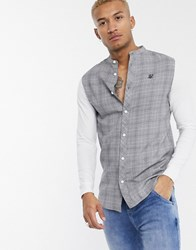 Sik Silk Siksilk Prince Of Wales Check Grandad Collar Shirt Grey