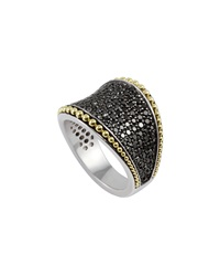 Lagos Sterling Silver And 18K Gold Black Diamond Imagine Ring Size 7