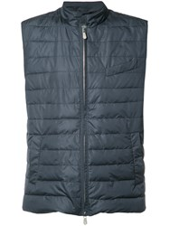 Eleventy Sleeveless Padded Jacket Blue