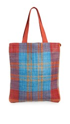 Clare V. Woven Leather Carryall Bag Poppy Turquoise Plaid