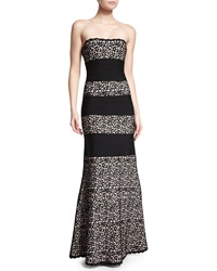 Herve Leger Strapless Fit And Flare Gown Black Combo