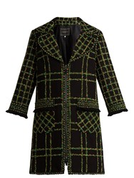 Andrew Gn Checked Fringe Trimmed Fil Coupe Cotton Blend Coat Black Multi