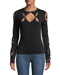 Bailey 44 Two Pairs Cutout Crewneck Sweater Black