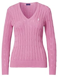 Polo Ralph Lauren V Neck Cable Knit Jumper Laguna Pink