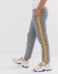 Sixth June Tapered Trousers In Grey Check With Yellow Side Stripe