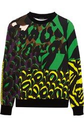 Versace Printed Cotton Jersey Sweatshirt Lime Green